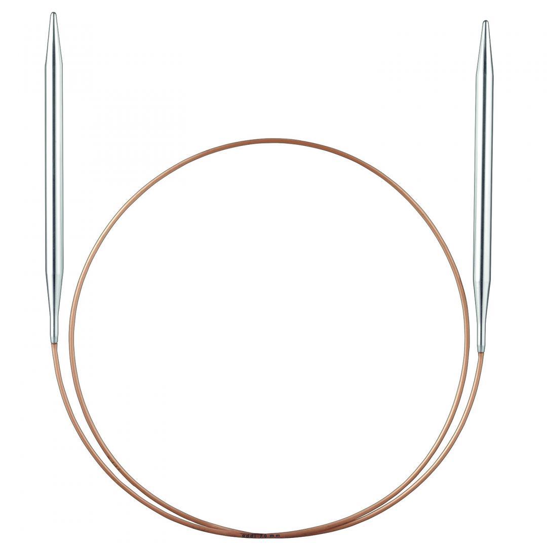 Addi Rundnadeln 105-7 und 114 mit Messingspitze und Goldseil  1,5mm_40cm