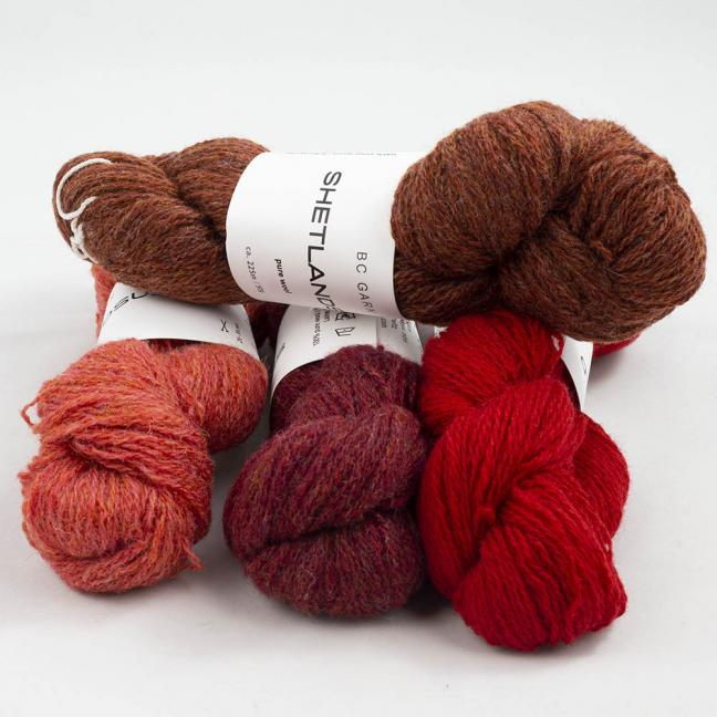 BC Garn Shetland Wool Restepaket 200g Reds