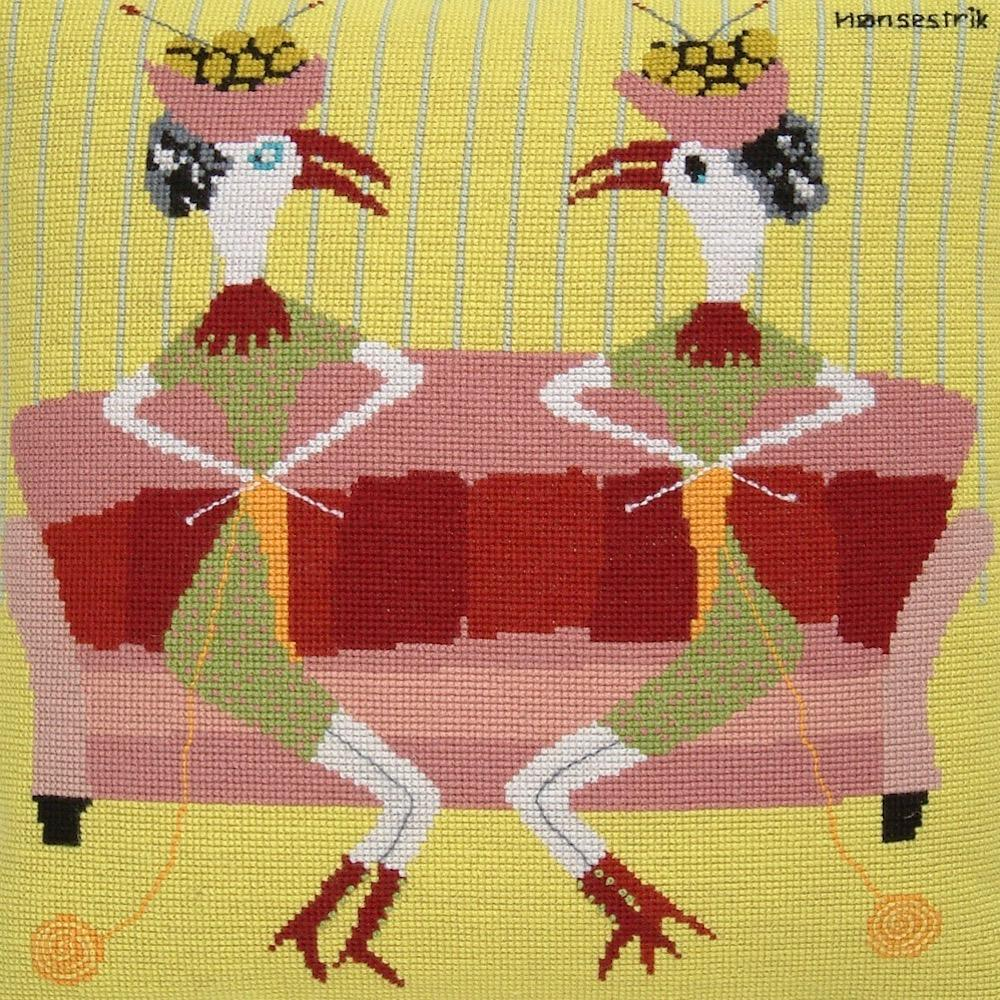 Fru Zippe Strickende Hühner Kissen 74 0348 Strickende Hühner