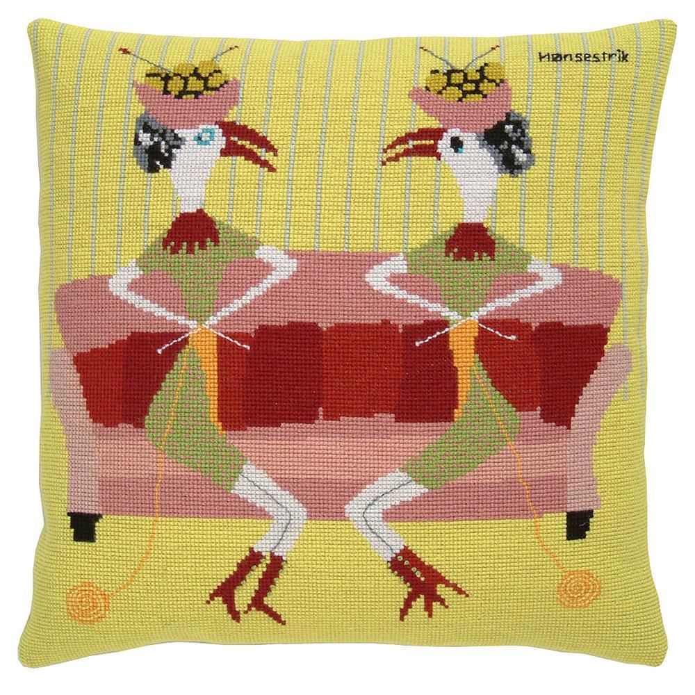 Fru Zippe Strickende Hühner Kissen 74 0348
