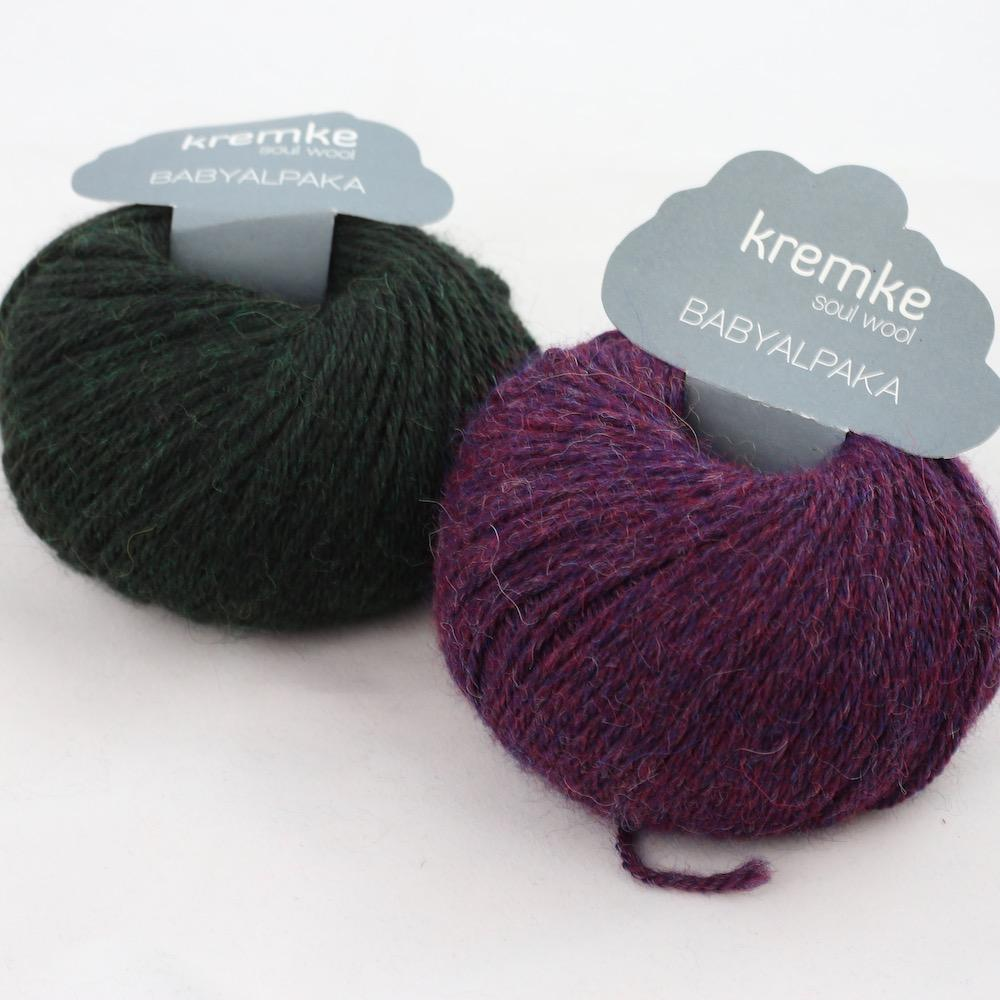 Kremke Soul Wool Babyalpaka Kit Loop Pflaume Waldgrün