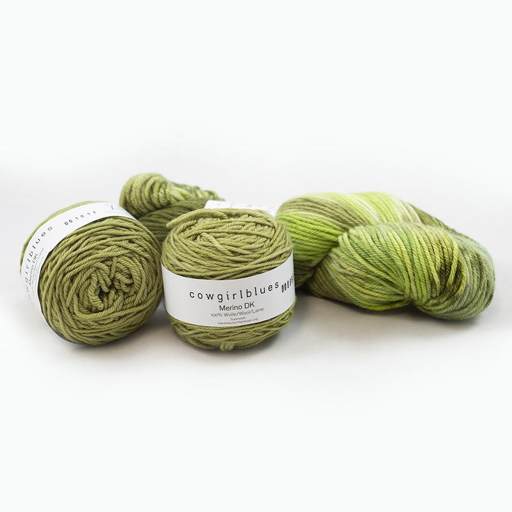 Cowgirl Blues Merino DK Garnpaket 200g Olive and Heather