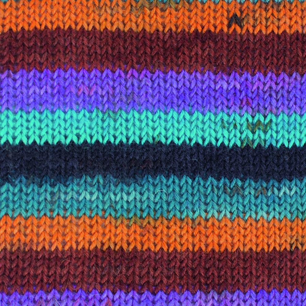 Kremke Soul Wool Edelweiss 4fach 50 Orange Blau Streifen