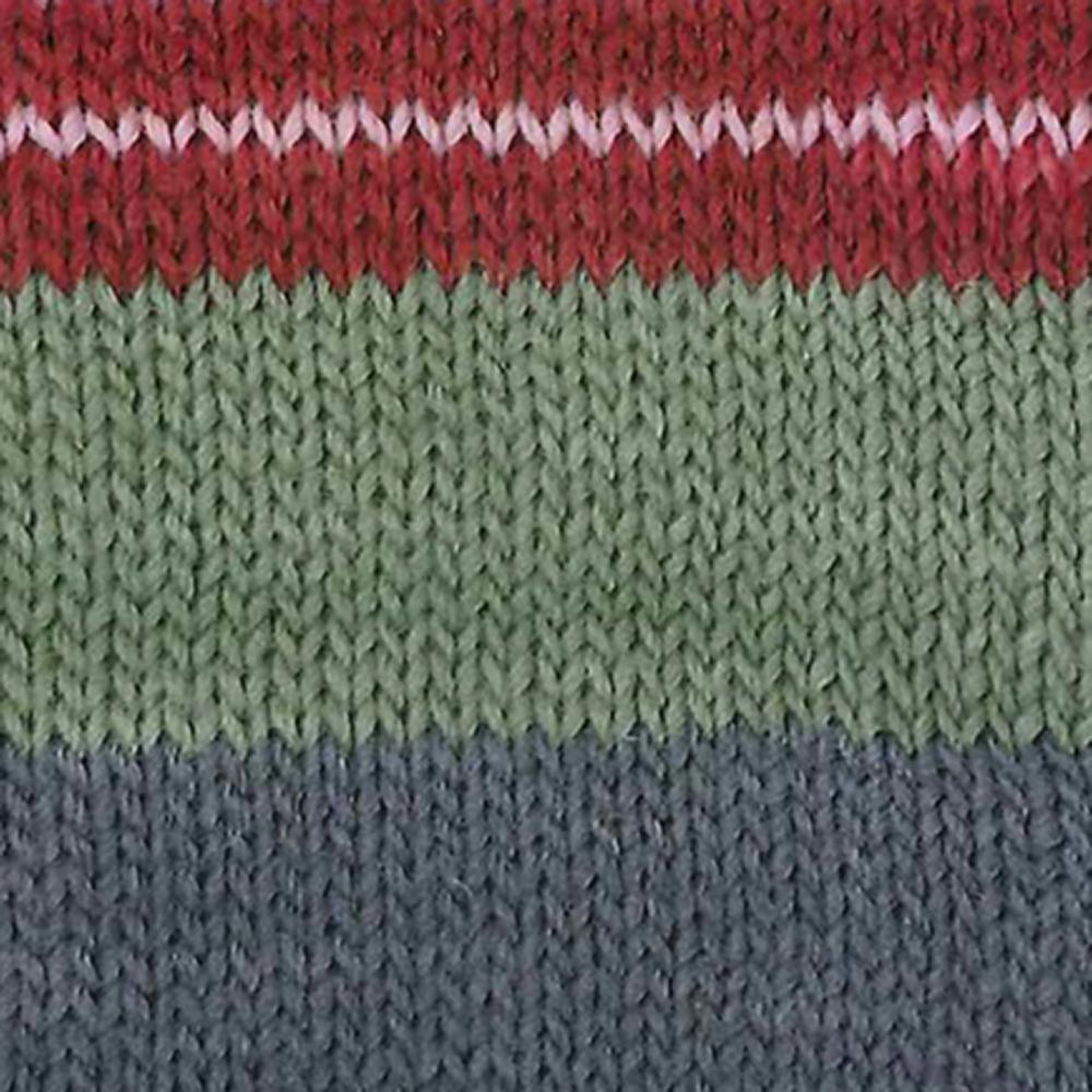 Kremke Soul Wool Edelweiss 6fach 150 Rot mit Grau gestreift