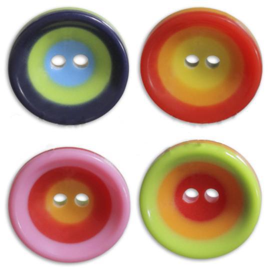 Jim Knopf Kunststoffknopf Bunte Kreise 16mm