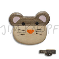 Jim Knopf Holz-Ösenknopf Katze Maus oder Hase 32mm Maus