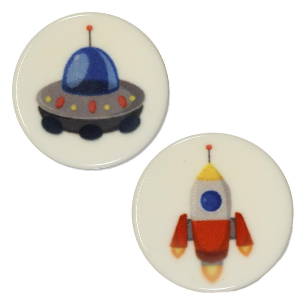 Jim Knopf Kunststoffknopf Weltraummotive 18mm