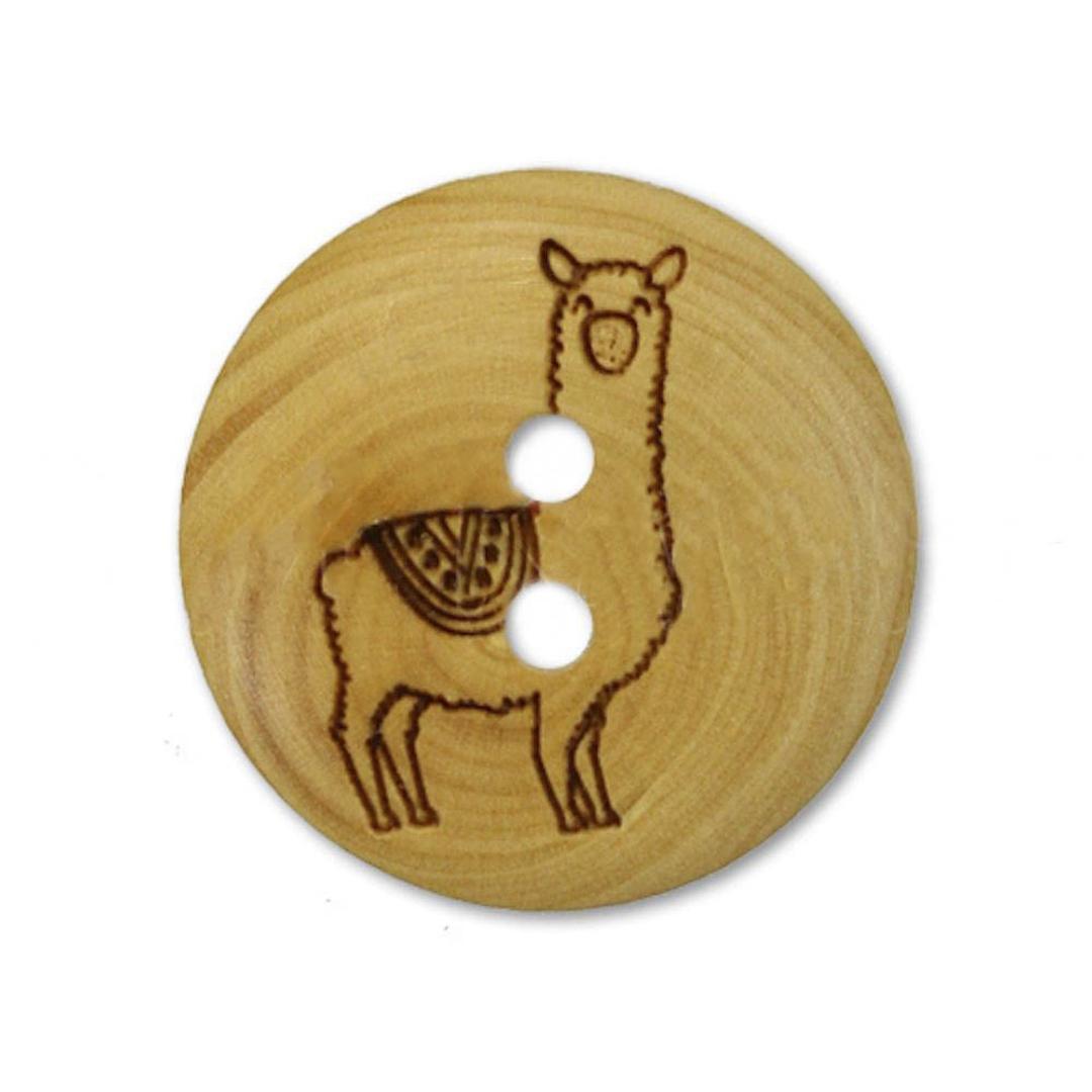 Jim Knopf Holzknopf aus Buchsbaum Lama 18mm