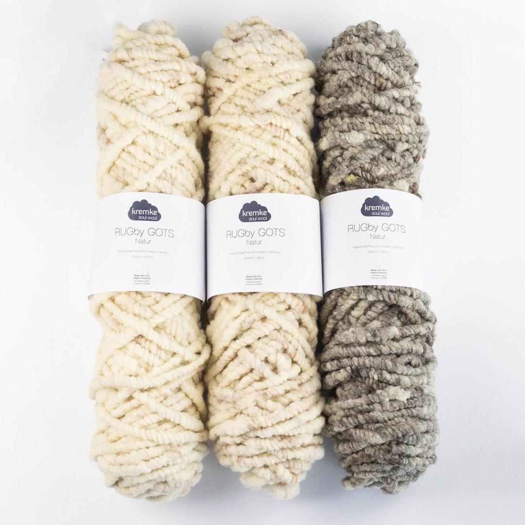 Kremke Soul Wool Rugby Teppichwolle GOTS ungefärbt