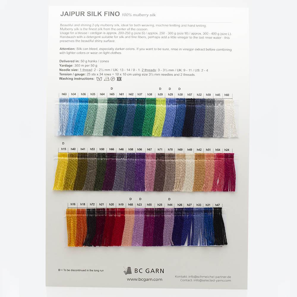BC Garn Farbkarten von BC Garn Jaipur Silk Fino