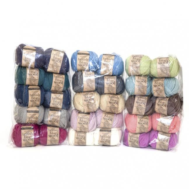 British Blue Wool Mix Pack (10x25g)